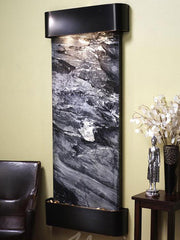 Inspiration Falls: Black Spider Marble with Blackened Copper Trim and Rounded Corners - Soothing Company