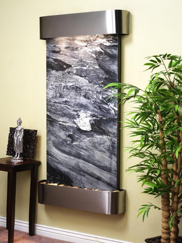 Inspiration Falls: Black Spider Marble and Stainless Steel Trim with Rounded Corners - Soothing Company