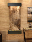 Inspiration Falls: Magnifico Travertine and Blackened Copper Trim with Squared Corners