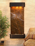 Inspiration Falls: Rainforest Brown Marble and Blackened Copper Trim with Rounded Corners - Soothing Company