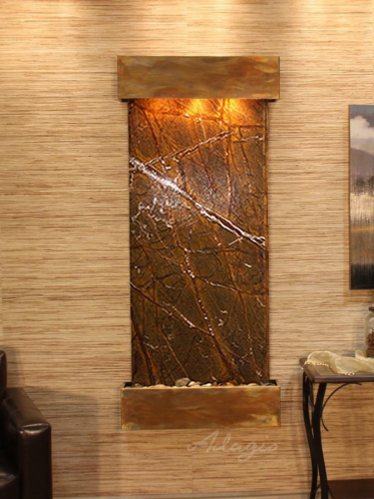 Inspiration Falls: Rainforest Brown Marble and Rustic Copper Trim with Squared Corners - Soothing Company