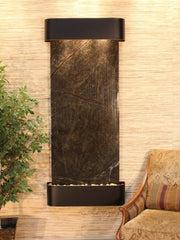 Inspiration Falls: Rainforest Green Marble and Blackened Copper Trim with Rounded Corners - Soothing Company