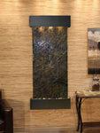 Inspiration Falls: Rainforest Green Marble and Blackened Copper Trim with Squared Corners
