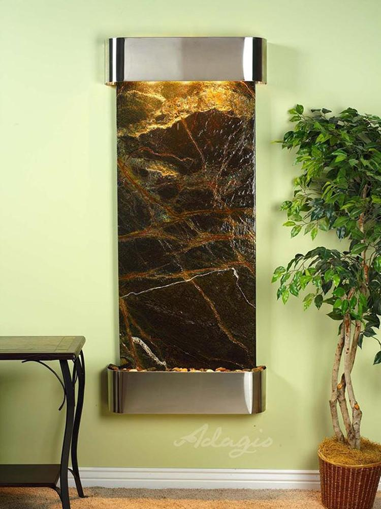 Inspiration Falls: Rainforest Green Marble and Stainless Steel Trim with Rounded Corners - Soothing Company