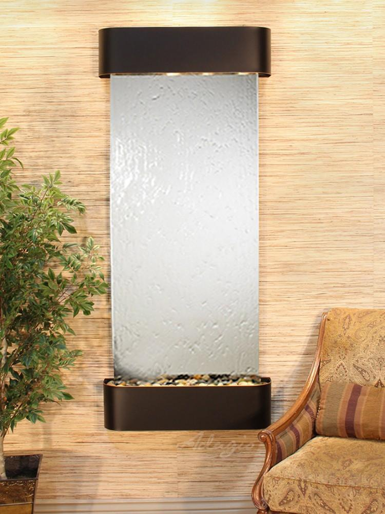Inspiration Falls: Silver Mirror and Blackened Copper Trim with Rounded Corners - Soothing Company