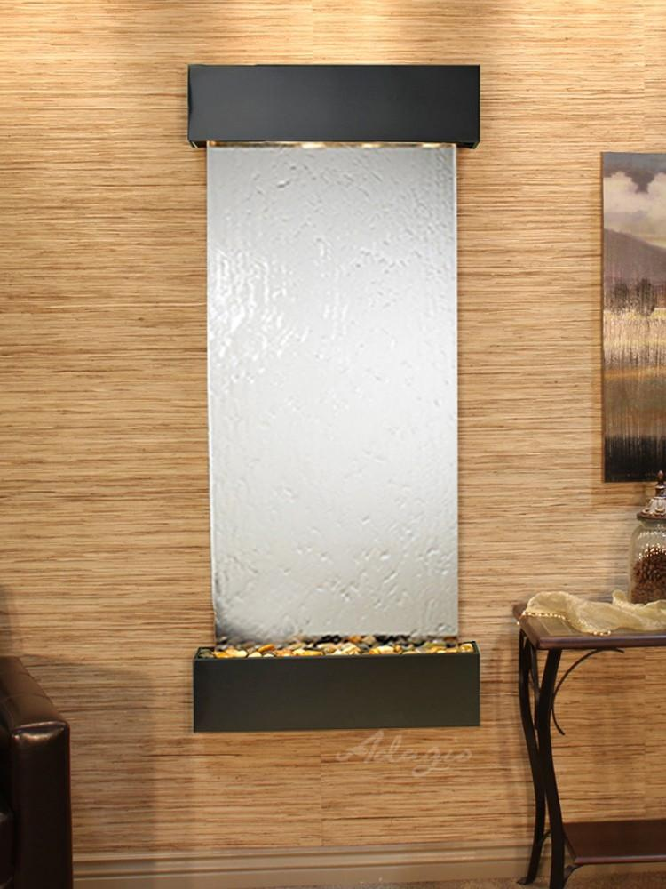Inspiration Falls: Silver Mirror and Blackened Copper Trim with Squared Corners - Soothing Company