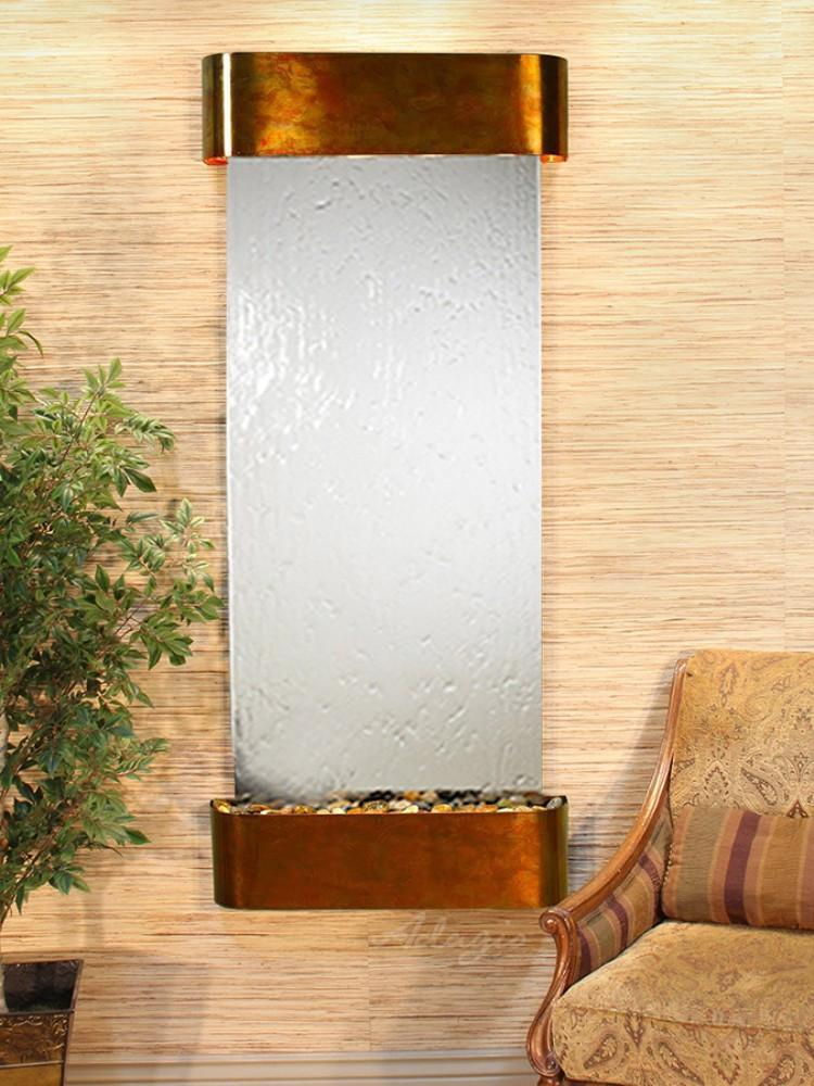 Inspiration Falls: Silver Mirror and Rustic Copper Trim with Rounded Corners - Soothing Company