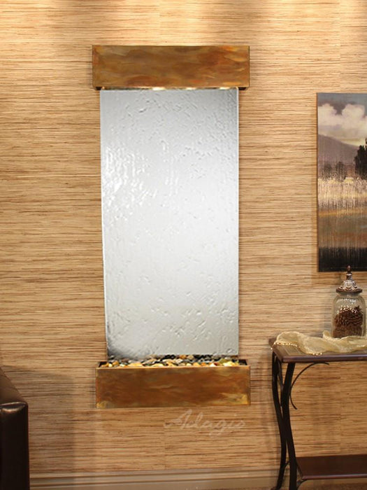Inspiration Falls: Silver Mirror and Rustic Copper Trim with Squared Corners - Soothing Company