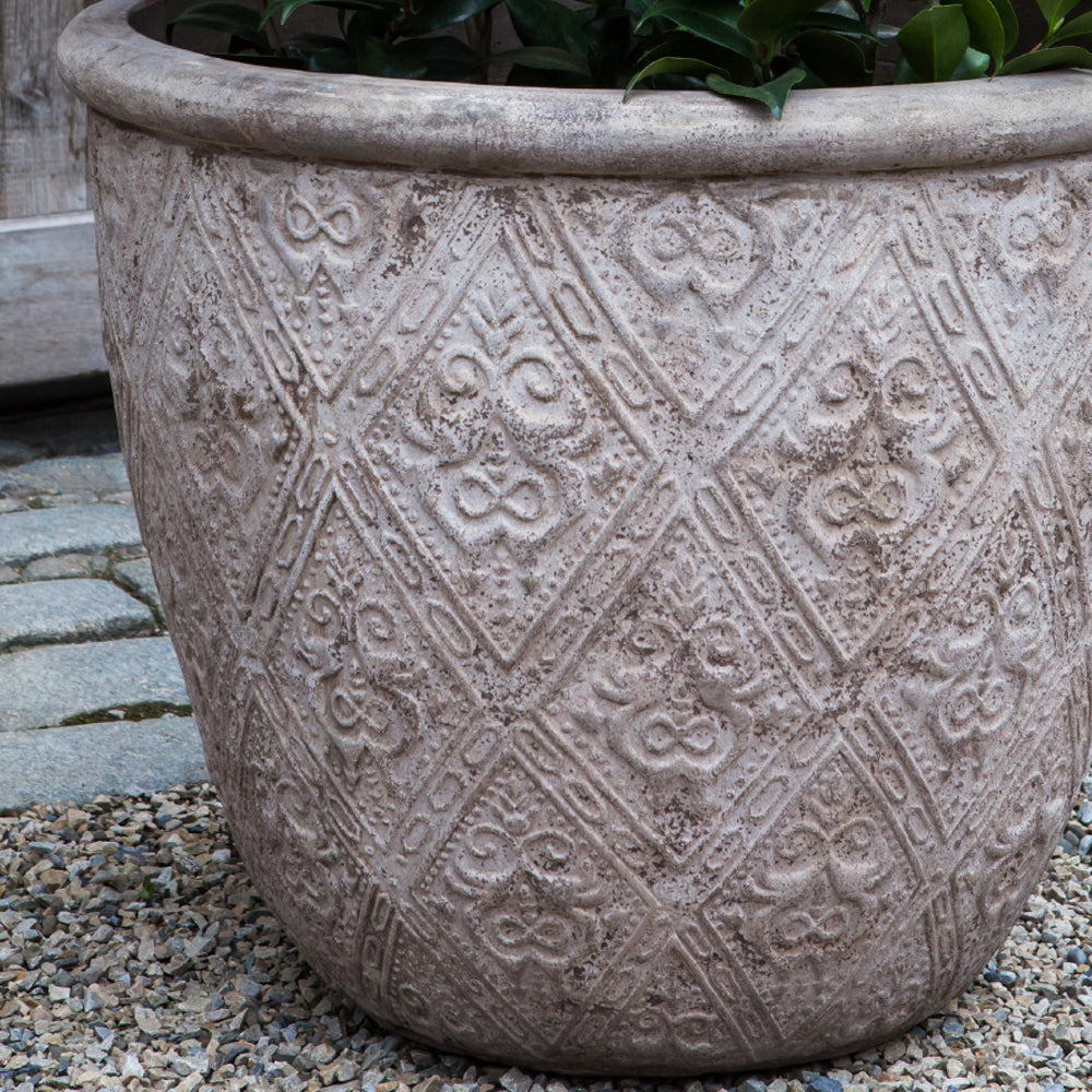 Jacquard Low Planter - Set of 3 in Antico Terra Cotta - Soothing Company