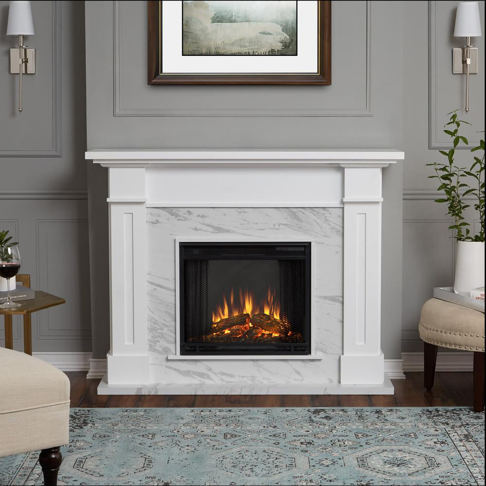 Kipling Electric Fireplace in White with Faux Marble - Soothing Company