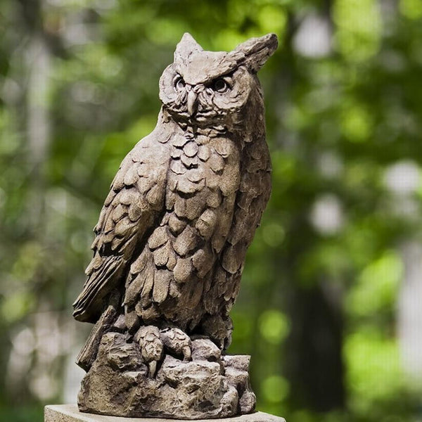 Large Horned Owl Cast Stone Garden Statue - Soothing Company