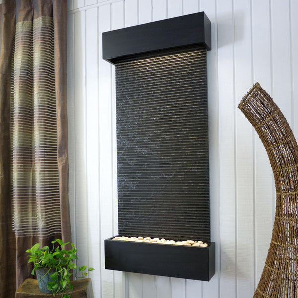 Large Nojoqui Falls Classic Quarry Black Granite Wall Fountain in Black Onyx Frame - Soothing Company