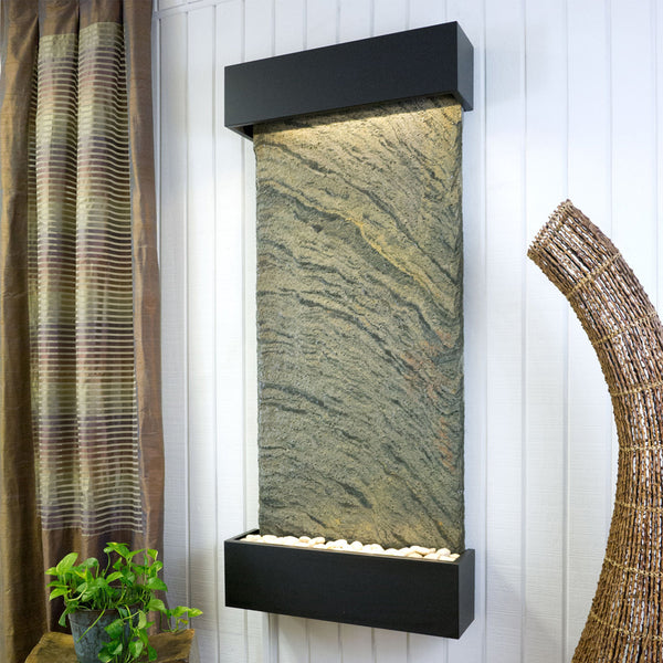 Large Nojoqui Falls Classic Quarry Jeera Slate Wall Fountain in Black Onyx Frame - Soothing Company