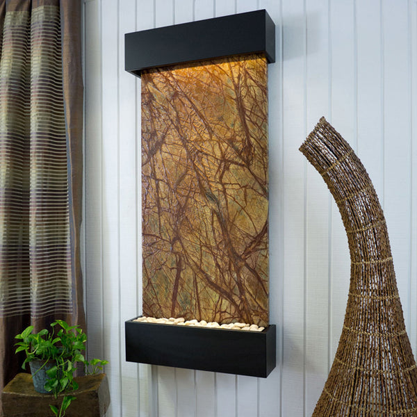 Large Nojoqui Falls Classic Quarry Rainforest Brown Marble Wall Fountain in Black Onyx Frame - Soothing Company