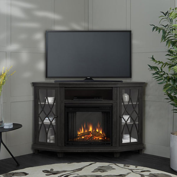 Lynette Corner Electric Entertainment Center in Gray - Soothing Company