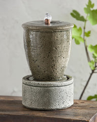 M-Series Rustic Spa Garden Terrace Fountain with Planter - Soothing Company
