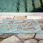 Liora Manne Frontporch Mermaid Crossing Water Area Rug - Outdoor Art Pros