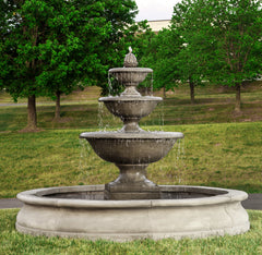 Monteros Tiered Outdoor Water Fountain in Basin - Soothing Company