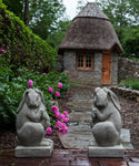 Newport Rabbit Cast Stone Garden Statue in Pair - Soothing Company