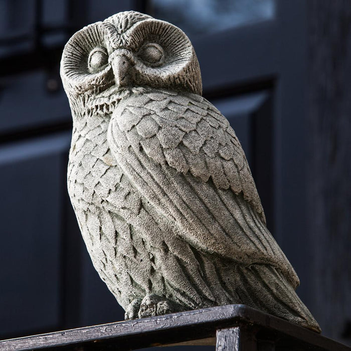 Night Owl Cast Stone Garden Statue - Soothing Company