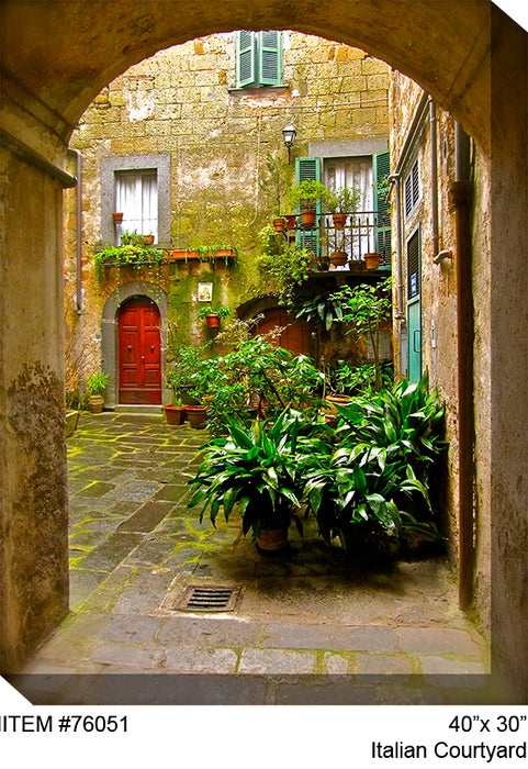 Italian Courtyard Outdoor Canvas Art - Soothing Company