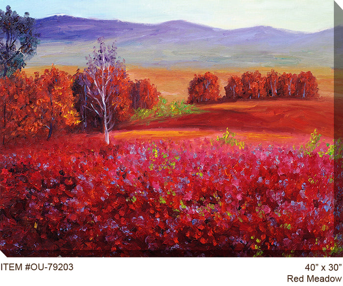 Red Meadow Outdoor Canvas Art - Soothing Company