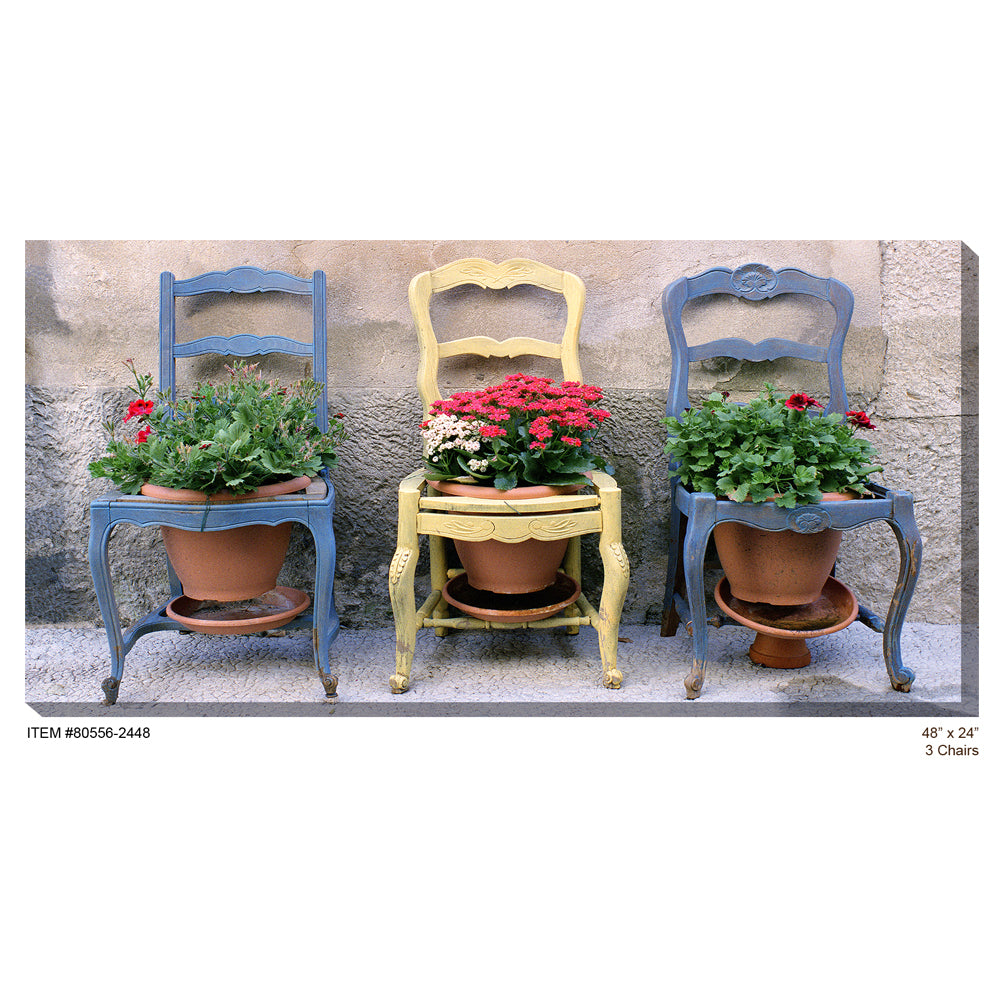 3 Chairs Outdoor Canvas Art - Soothing Company