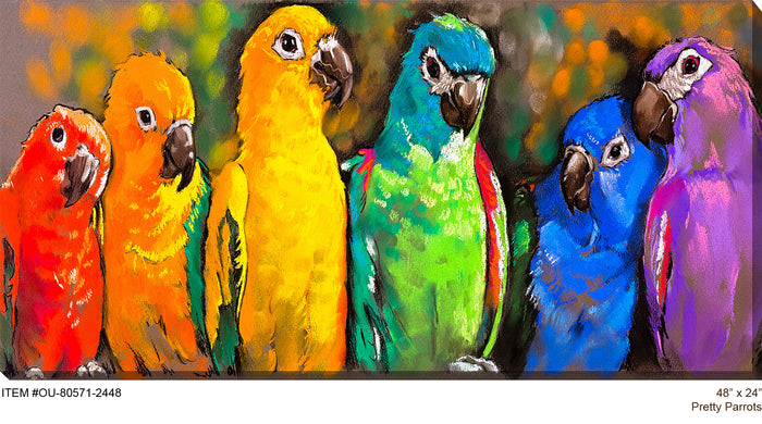 Pretty Parrots Outdoor Canvas Art - Soothing Company