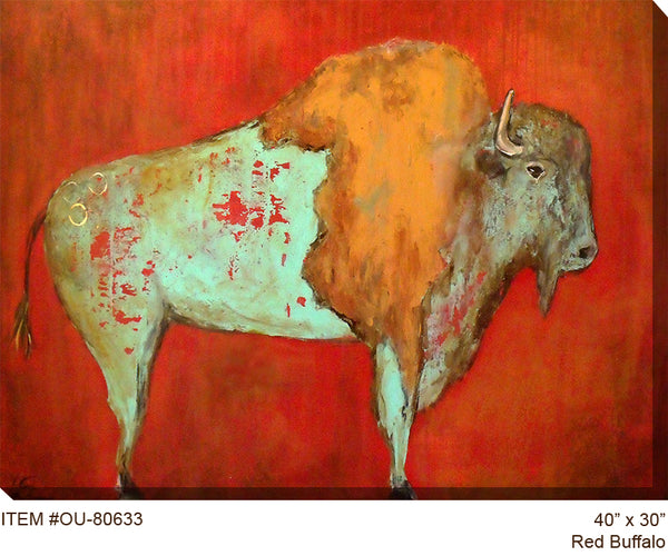 Red Buffalo Outdoor Canvas Art - Soothing Company