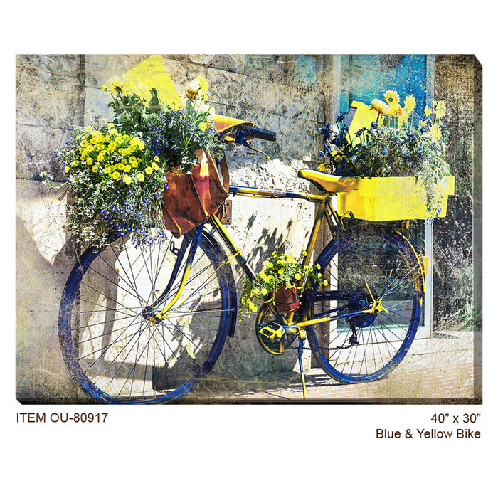 Blue and Yellow Bike Outdoor Canvas Art - Soothing Company