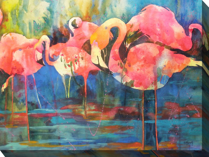 Flirty Flamingos Outdoor Canvas Art - Soothing Company