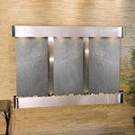 Olympus Falls: Black FeatherStone and Stainless Steel Trim with Rounded Corners