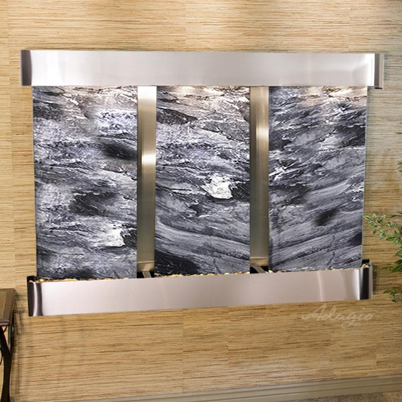 Olympus Falls: Black Spider Marble and Stainless Steel Trim with Rounded Corners