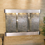 Olympus Falls: Green FeatherStone and Stainless Steel Trim with Rounded Corners