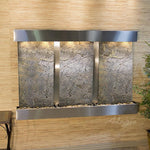 Olympus Falls: Green FeatherStone and Stainless Steel Trim with Squared Corners
