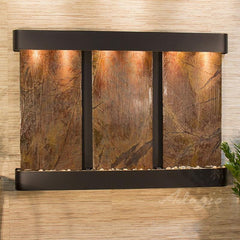 Olympus Falls: Rainforest Brown Marble and Blackened Copper Trim with Rounded Corners