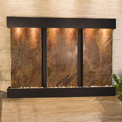 Olympus Falls: Rainforest Brown Marble and Blackened Copper Trim with Squared Corners