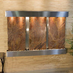 Olympus Falls: Rainforest Brown Marble and Stainless Steel Trim with Squared Corners