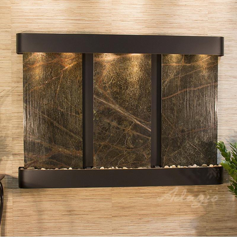 Olympus Falls: Rainforest Green Marble and Blackened Copper Trim with Rounded Corners
