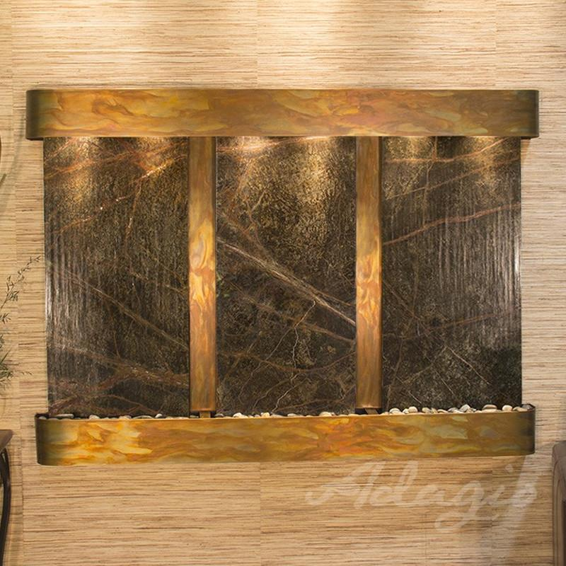 Olympus Falls: Rainforest Green Marble and Rustic Copper Trim with Rounded Corners