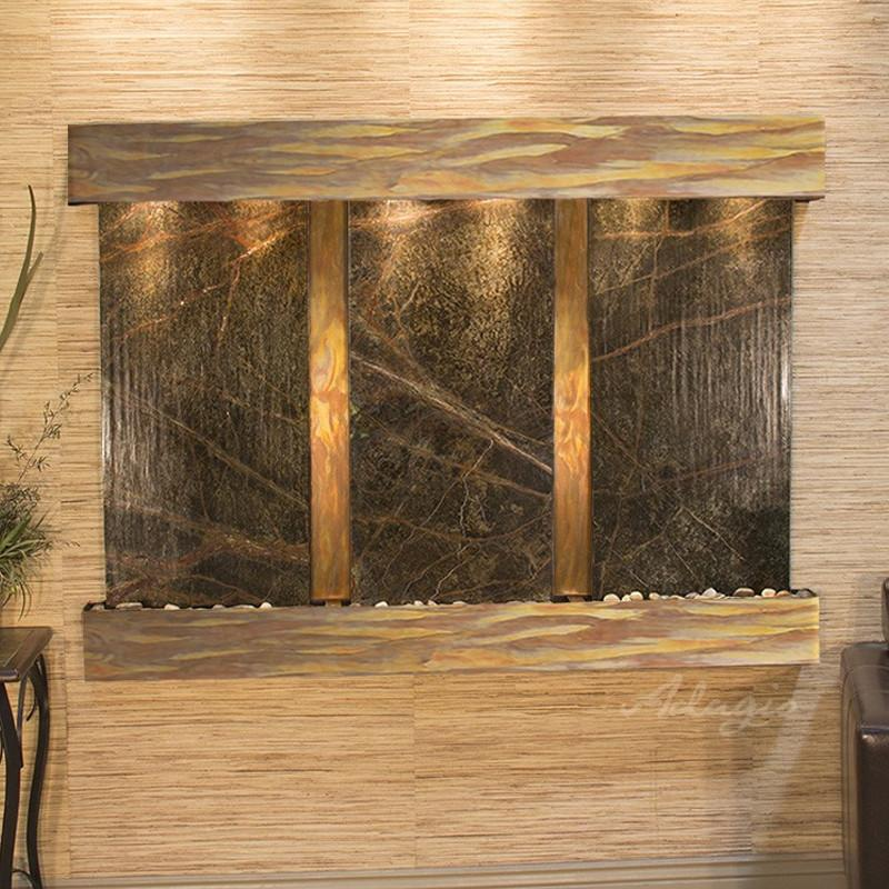 Olympus Falls: Rainforest Green Marble and Rustic Copper Trim with Squared Corners