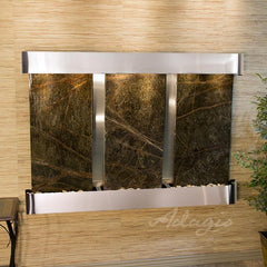 Olympus Falls: Rainforest Green Marble and Stainless Steel Trim with Rounded Corners