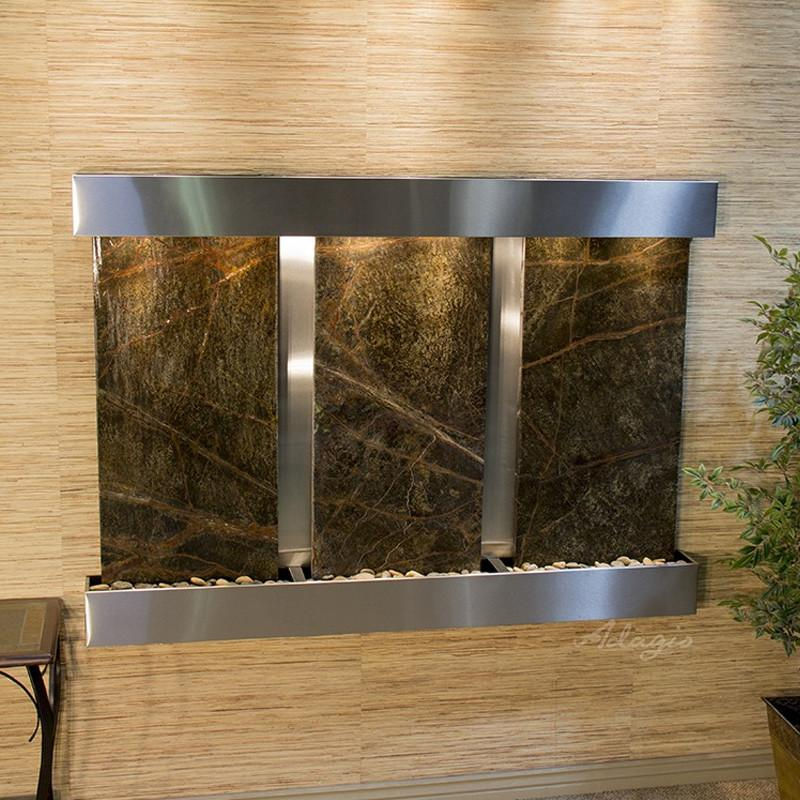 Olympus Falls: Rainforest Green Marble and Stainless Steel Trim with Squared Corners