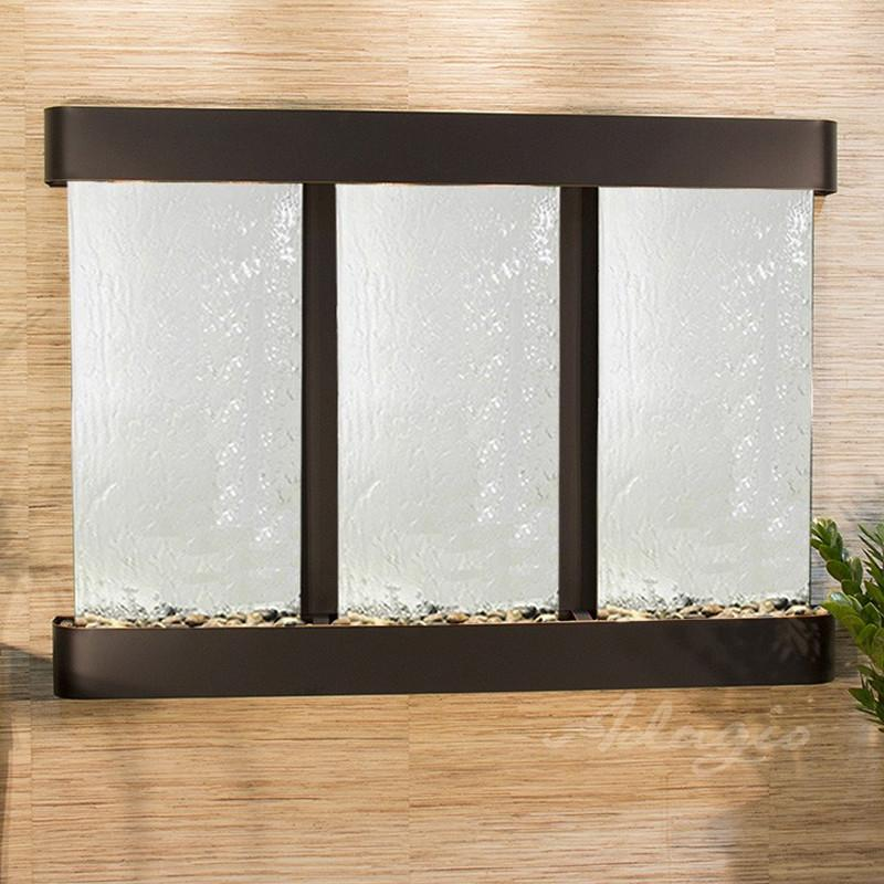 Olympus Falls: Silver Mirror and Blackened Copper Trim with Rounded Corners