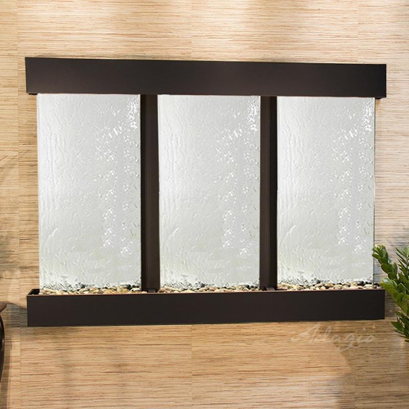 Olympus Falls: Silver Mirror and Blackened Copper Trim with Squared Corners