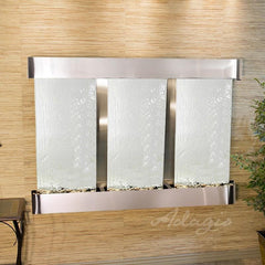 Olympus Falls: Silver Mirror and Stainless Steel Trim with Rounded Corners