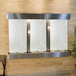 Olympus Falls: Silver Mirror and Stainless Steel Trim with Squared Corners