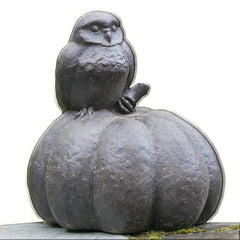 Owl on Pumpkin Cast Stone Garden Statue - Soothing Company