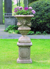 Small Lion with Garland Urn Garden Planter with Large Square Frame Pedestal - Soothing Company