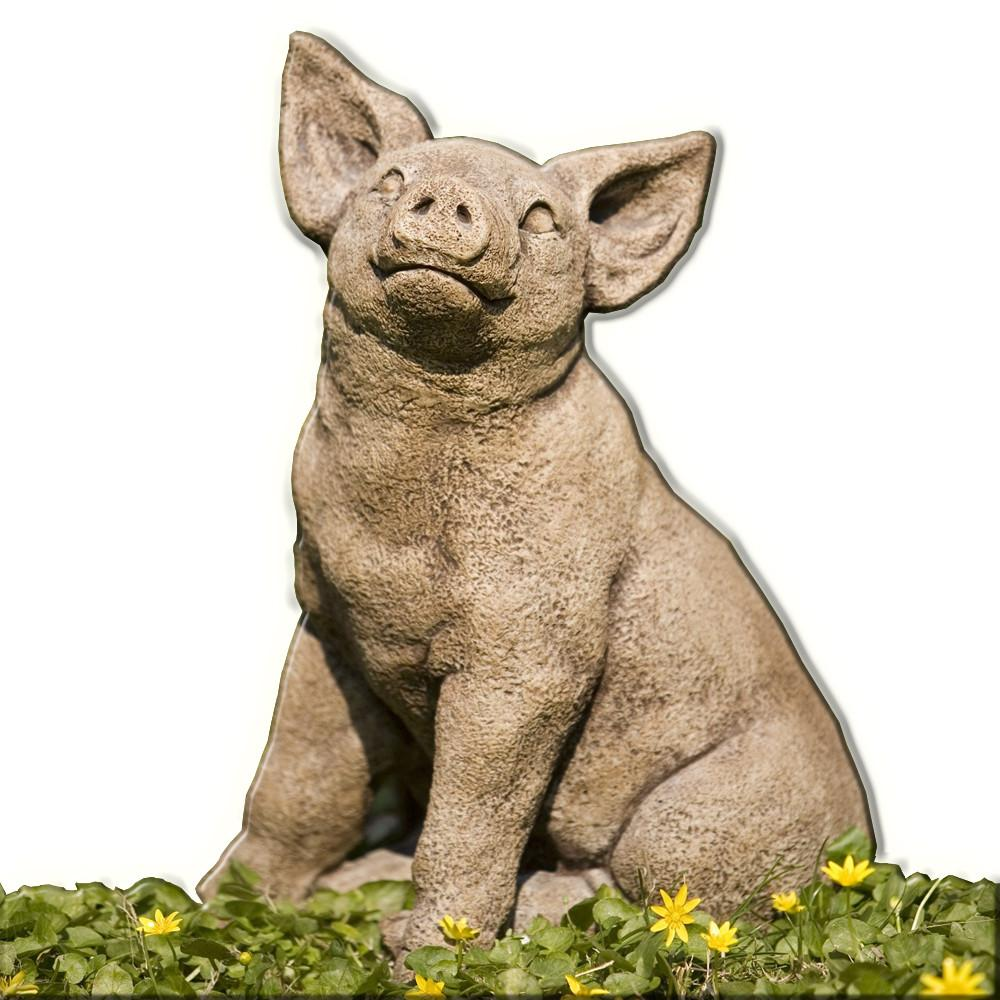 Perky Pig Cast Stone Garden Statue   Soothing Company